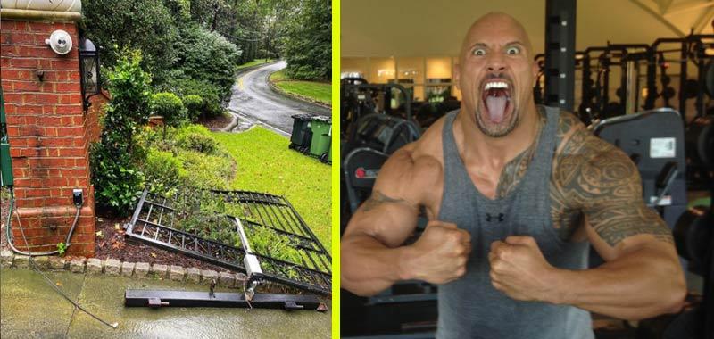 Dwayne Johnson smantella un cancello elettrico per andare a lavorare